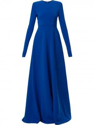 Платье со складками и длинными рукавами Carolina Herrera. Цвет: nautilus