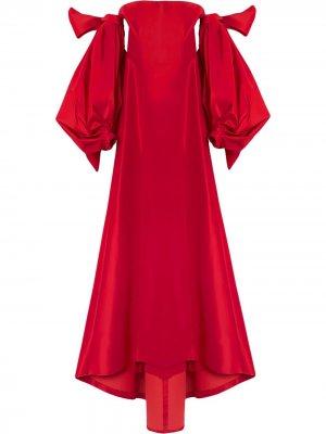Платье с драпировкой Carolina Herrera. Цвет: красный