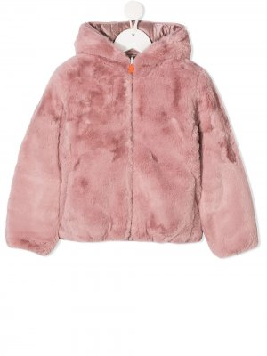 Reversible faux fur padded coat Save The Duck Kids. Цвет: розовый