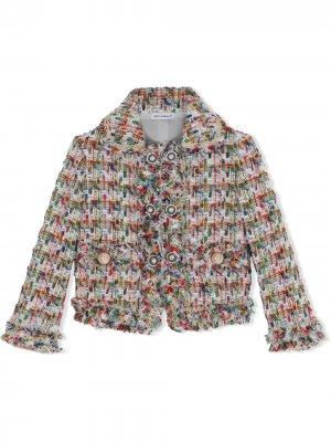 Твидовый жакет на пуговицах Dolce & Gabbana Kids. Цвет: нейтральные цвета