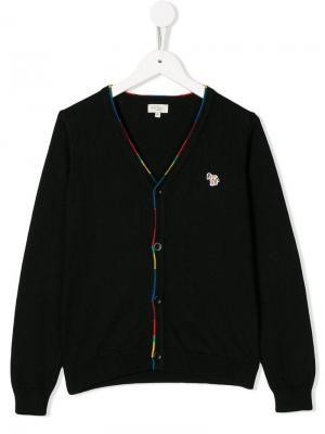 Кардиган узкого кроя с логотипом Paul Smith Junior. Цвет: черный