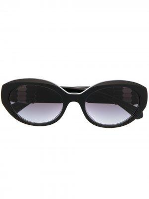 Солнцезащитные очки в круглой оправе Bvlgari. Цвет: черный
