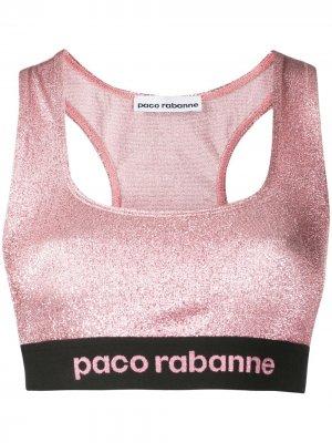 Спортивный бюстгальтер с логотипом Paco Rabanne. Цвет: розовый