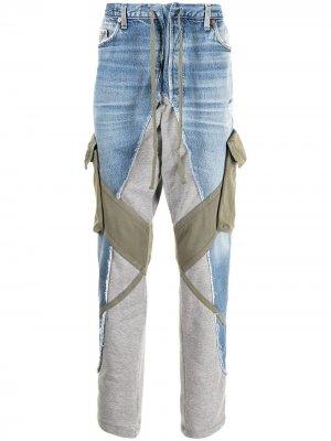 Зауженные джинсы со вставками Greg Lauren. Цвет: синий