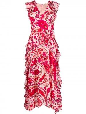 Платье с абстрактным цветочным принтом TWINSET. Цвет: красный