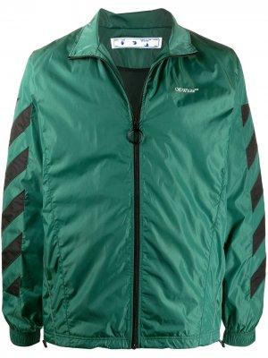 Куртка с диагональными полосками Off-White. Цвет: зеленый