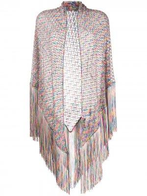 Полупрозрачная трикотажная шаль с бахромой Missoni. Цвет: розовый