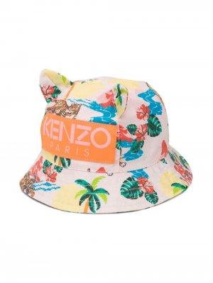 Панама с отделкой и цветочным принтом Kenzo Kids. Цвет: розовый