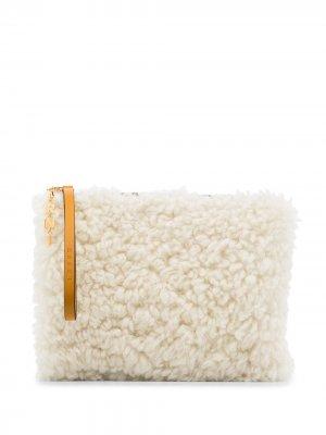 Клатч из овчины Marni. Цвет: белый