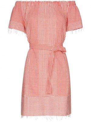 Платье Semira с принтом и открытыми плечами lemlem. Цвет: красный