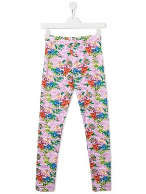 Легинсы с цветочным принтом Moschino Kids. Цвет: розовый