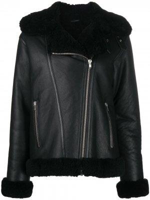 Байкерская куртка с меховой отделкой Liska. Цвет: черный