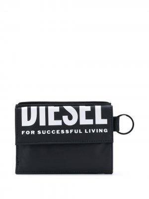 Бумажник с логотипом Diesel. Цвет: черный