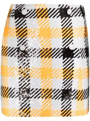 Мини-юбка London с пайетками ROTATE. Цвет: белый