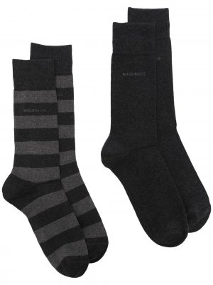 Носки в полоску с логотипом BOSS. Цвет: серый