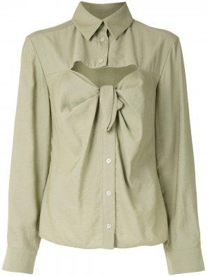 Рубашка с длинными рукавами и завязками Jacquemus. Цвет: зеленый