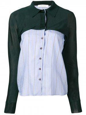 Рубашка со вставками Cédric Charlier. Цвет: зеленый