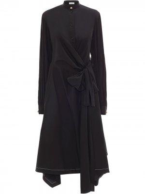 Платье-рубашка с запахом JW Anderson. Цвет: черный