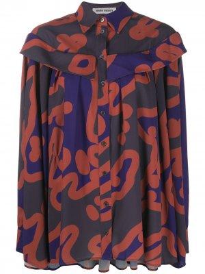 Рубашка со вставками на плечах и абстрактным принтом HENRIK VIBSKOV. Цвет: серый