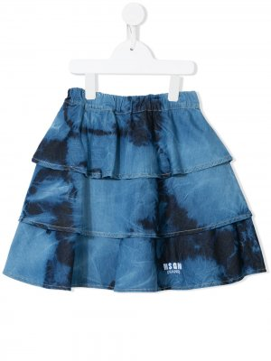Ярусная юбка с принтом тай-дай MSGM Kids. Цвет: синий