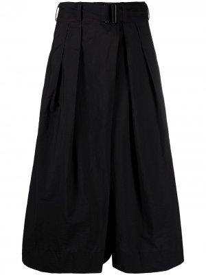 Укороченные брюки с поясом Lemaire. Цвет: черный