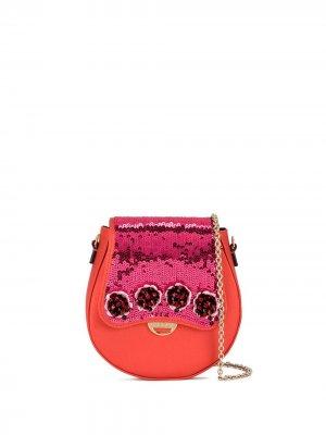 Сумка через плечо с вышивкой пайетками Emilio Pucci. Цвет: оранжевый
