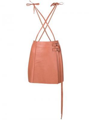 Байкерская мини-юбка Alysi. Цвет: розовый