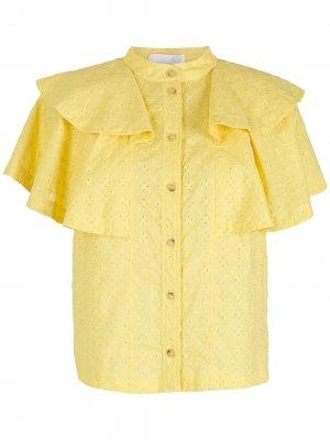 Блузка с оборками и английской вышивкой Nk. Цвет: желтый