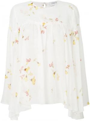 Расклешенная блузка с цветочным рисунком Giambattista Valli. Цвет: белый