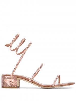 Босоножки Cleo с кристаллами René Caovilla. Цвет: розовый