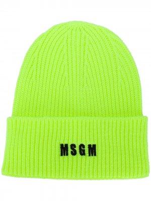 Шапка бини с вышитым логотипом MSGM. Цвет: желтый