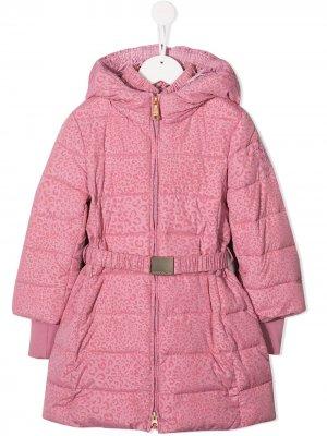 Куртка с анималистичным принтом Monnalisa. Цвет: розовый