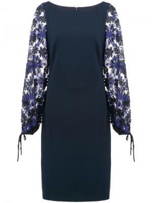 Платье с цветочным узором Badgley Mischka. Цвет: синий