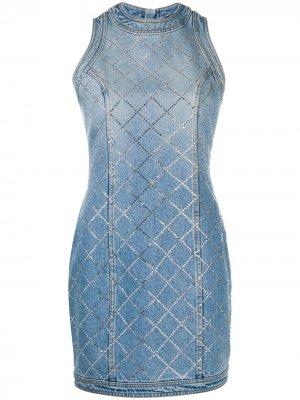 Джинсовое платье со стразами Balmain. Цвет: синий