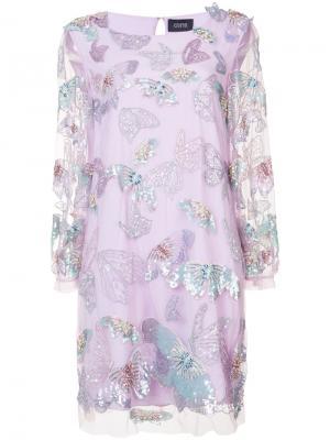 Украшенное бисером и пайетками платье Marchesa Notte. Цвет: розовый