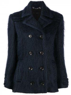 Пушистая двубортная куртка Gucci. Цвет: синий