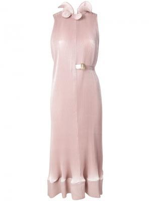 Платье миди с микроплиссировкой Tibi. Цвет: розовый