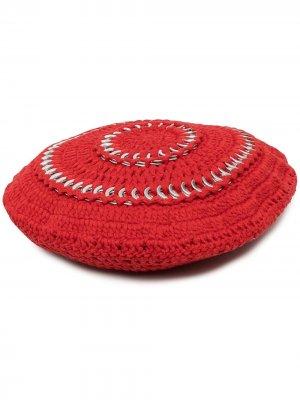 Декорированный вязаный берет GANNI. Цвет: красный