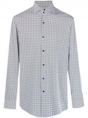 Рубашка с длинными рукавами и геометричным узором Boss Hugo. Цвет: белый