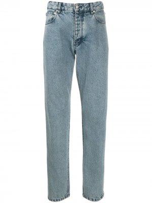 Зауженные джинсы из вареного денима AMI Paris. Цвет: синий