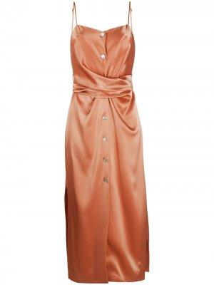 Платье с драпировкой на талии Nanushka. Цвет: оранжевый