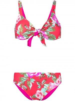 Двусторонний купальник бикини с цветочным принтом Fisico. Цвет: красный