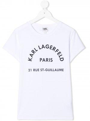 Футболка с логотипом Karl Lagerfeld Kids. Цвет: белый