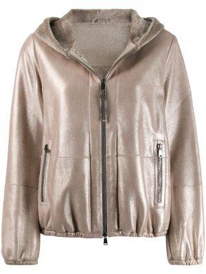 Куртка с капюшоном Brunello Cucinelli. Цвет: золотистый