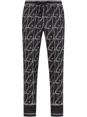 Пижамные брюки с логотипом Dolce & Gabbana. Цвет: черный