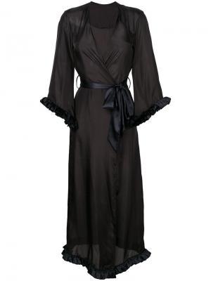 Длинный халат с V-образным вырезом Loveday London. Цвет: черный