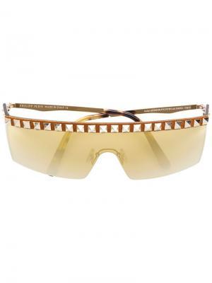 Солнцезащитные очки в стилистике маски с отделкой Rockstud Philipp Plein. Цвет: золотистый