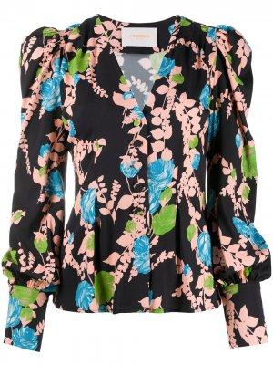 Блузка с цветочным принтом La Doublej. Цвет: черный