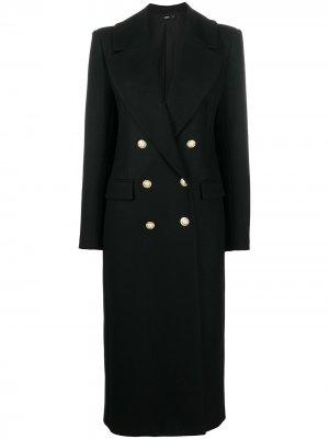 Двубортное пальто Amen. Цвет: черный