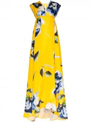 Платье макси с цветочным принтом Carolina Herrera. Цвет: желтый